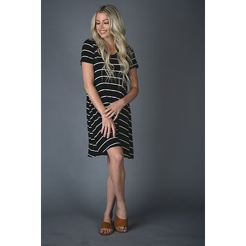 The Abby Striped Dress in BLACK (S-XL)