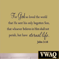 For God So Loved The World Wall Decal Quote Religious Bible Verse John 3:16 S...