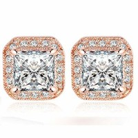 18K Rose Gold Plated Square CZ Stud Earrings Nickel Free