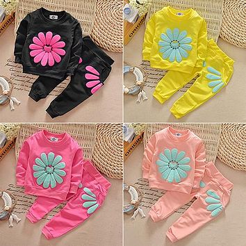 Kids Infant Baby Girl's Sun Flower T-shirt Jumper Top Pants Outfit Clothing Set