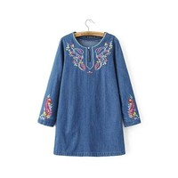 Rockabilly Vintage Retro Vestidos Mujer Hippie Boho Denim Blue Crochet Loose Long Sleeve Embroidery Women Spring Autumn Dress