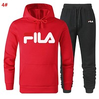 Fila Autumn And Winter New Fashion Letter Print Sports Leisure Women Men Hooded Long Sleeve Sweater Top And Pants Two Piece Suit 4#