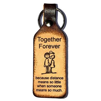 Together Forever Leather Keychain