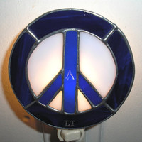 LT Stained glass blue Peace sign night light lamp Woodstock made with dark and light blue opal glass