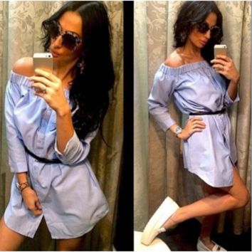 A word sexy long-sleeved shirts that show a shoulder dress