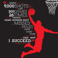 Typographic Poster - Michael Jordan Quote - Basketball Dunk Graphic