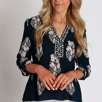Down To Business Printed Blouse Navy