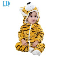2017 Baby Clothes Newborn Rompers Coral Fleece Tiger Animal Jumpsuit Spring Autumn Infant Clothing Baby Boy Clothes