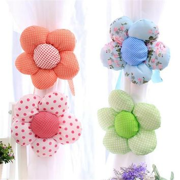 1pc Cotton Cotton Sun Flower Curtain Tieback Holdback Holder For Home Decoration Curtain Accessories Home Decor Supplies