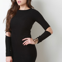 Slit Elbow Wool Knit Dress