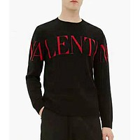 Valentino Fashion Men Women Leisure Print Long Sleeve Round Collar Knit Sweater Top Black