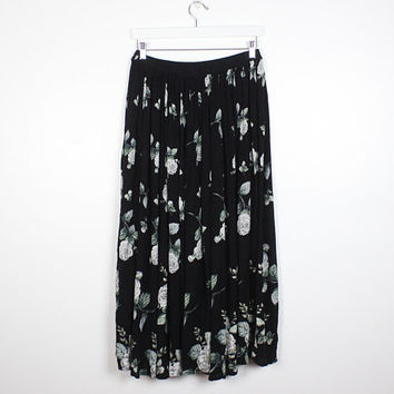 Vintage 90s Skirt Black White Gray Green Rose Ditsy Floral Print Gauze Maxi Skirt Gauzy Midi 1990s Soft Grunge Boho Hippie Gypsy Skirt L XL