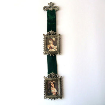 Wall Hang Frames with Green Velvet - Two Vintage Frames - Pair made of Metal