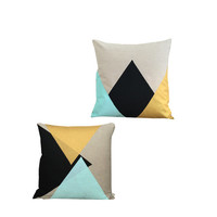 Cushion Cover, Pillow Cover Set of 2 - Mint, Black, Gold Triangles - Type 1 & Type 2