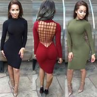 Sexy Club Dress 2016 Vestidos  Women Winter Black Long Sleeve Laced Criss Cross Warm Cotton Slim Bodycon Bandage Party Dresses