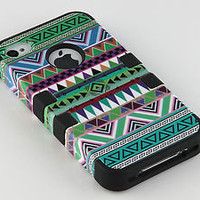 Stylus + For iPhone 4 4S 3-Piece Hybrid High Impact Case Tribal Black Silicone