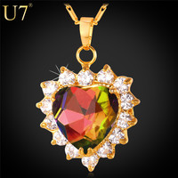 Women Jewelry Valentines Gift 18K Gold Plated Necklace Pendant