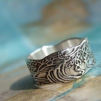 Nautical Silver Ring, Ocean Waves Design in Eco Friendly Recycled Fine Silver, Nautical Jewelry Custom Size 4 5 6 7 8 9 10 11 12 13 14