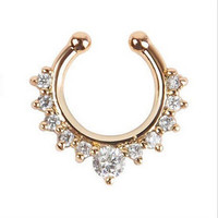 Alloy Rhinestone Nose Hoop Nose Rings Body Piercing Jewelry Fake Septum Clicker Non Piercing Hanger Clip On Jewelry