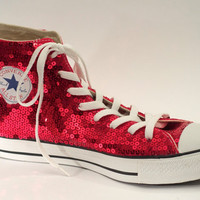 Ruby Red Sequin Converse All Star Hi Top