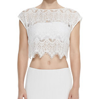 Farrell Cropped Lace Coverup