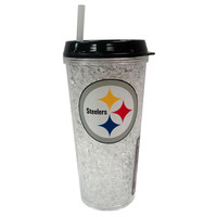 Duckhouse Crystal Tumbler With Straw - Pittsburgh Steelers