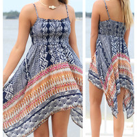 Waikiki Shore Navy Bohemian Printed Dress