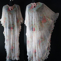 Vintage fashion trends sheer Kimono LINGERIE Nightgown floral lace Lounge Wear Robe NEGLIGEE Sleep wear Pajamas Nighty one size lace EPSTEAM