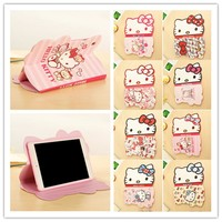 Cute Hello Kitty Case For iPad Air 2 Stand Smart Tablet Case For iPad Pro 9.7 For 2017 2018 New iPad Shell+Auto Sleep/Wake Cover