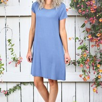 Closet Staple Basic Short Sleeve Dress {Dusty Blue}