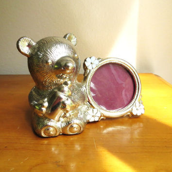 Vintage Teddy Bear Bank Picture Frame, Silver Plated, Small, Children's Bank, Picture Holder