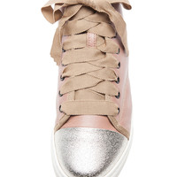 Lambskin High Top Sneaker in Nude Metallic