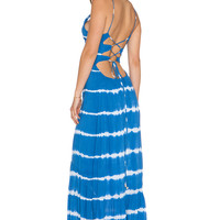 Indah Zera Ruffle Bottom Maxi Dress in Garis Blue