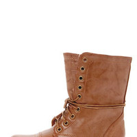Madden Girl Gamer Tan Lace-Up Combat Boots