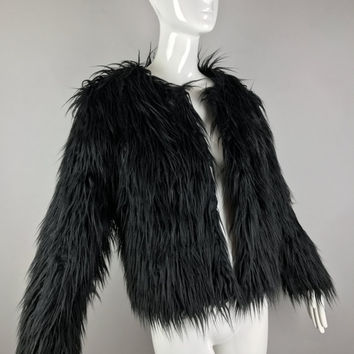 ViNtAgE 90s Shag Faux Fur Jacket Shaggy String Chubby Club Grunge Rave Ostrich Marabou Feather Mongolian Lamb Shearling Yeti Monster Grunge