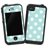 "White Polka Dot on Mint ""Protective Decal Skin"" for LifeProof iPhone 4/4s Case"