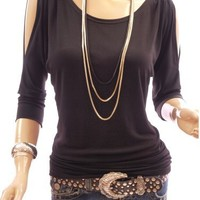 PattyBoutik Boat Neck O Ring Cut Out Shoulder 3/4 Sleeve Blouse Top (Black S)