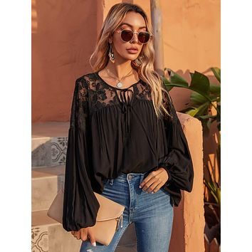 Tie Neck Lace Panel Bishop Sleeve Blouse