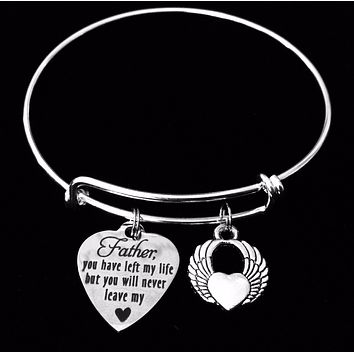 Father Memorial Jewelry Expandable Charm Bracelet Adjustable Silver Stackable Bangle Trendy One Size Fits All Gift