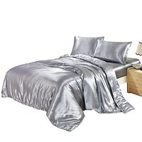 3/4PCS DUVET COVER SET SATIN SILK BEDDING SET WITH DUVET COVER PILLOWCASES pink/black/white/blue/purple/gray/golden