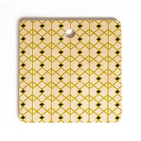 Heather Dutton Annika Diamond Citron Cutting Board Square