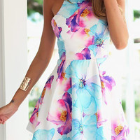 Floral Print Sleeveless Backless Skater Mini Dress