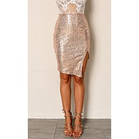 Demanding Attention Sequin High Waist Side Slit Bodycon Mini Skirt - 2 Colors