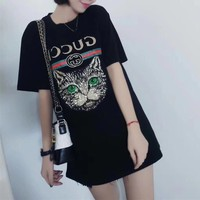 """""""Gucci"""" Women Casual Fashion Sequin Cat Head Embroidery Letter Print Short Sleeve T-shirt  Top Tee"""