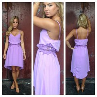 Lilac Sleeveless Hi-Low Dress with Crochet Side Detail