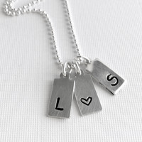 Custom Couples Necklace, Hand Stamped Initial Charm Jewelry, Small Dog Tag Charms