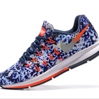 NIKE fashion casual breathable running shoes Print blue white