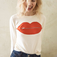 Sonia by Sonia Rykiel Red Lips Zip Jumper - Urban Outfitters