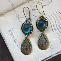 Old Hollywood Earrings - Frosted Teal
