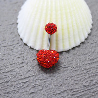 belly ring - belly button ring - belly piercing - belly jewelry -belly stud - red belly ring 14g - Simple cute